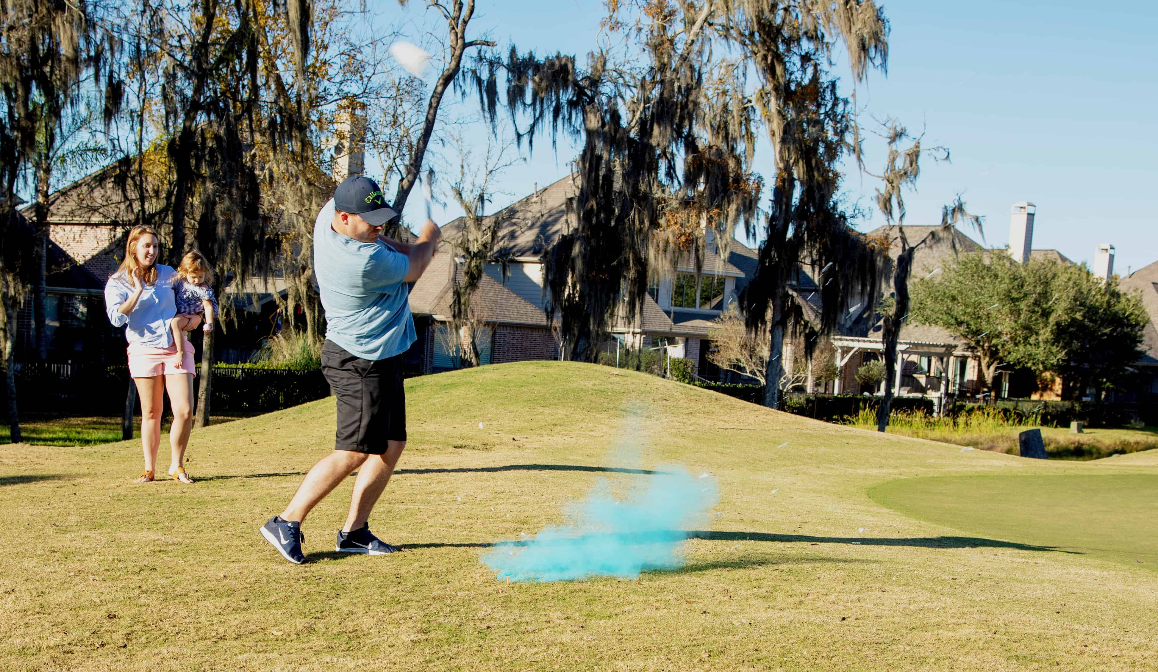 Simple Gender Reveal Party - Golf Ball Exploding with blue smoke